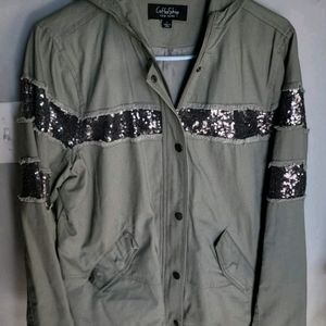 Womens large CoffeeShop sequined jacket